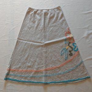 (3/$33 Deal) Linen Orange Blue Floral Midi Skirt